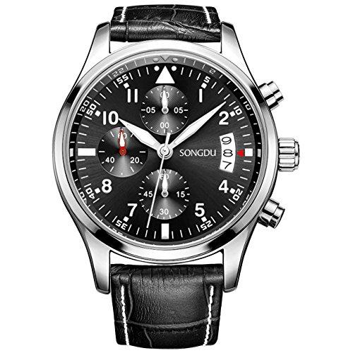 Binger Herren Datum Unisex Schwarz Military Multifunktions Chronograph Uhren phosphoreszierende Ziffern Lederband