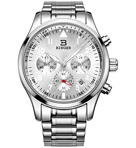 Binger Herren New Design Fashion Silber Multifunktions Formelle Quarz Kleid Armbanduhr mit Edelstahl Band