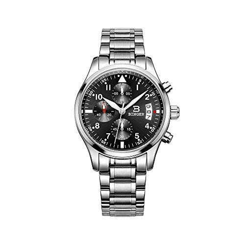 Binger Herren Quarz Multifunktions Chronograph Uhren schwarz Edelstahl leuchtet im Dunkeln Ziffer