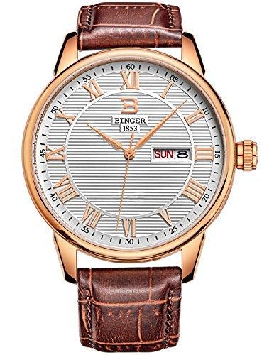 Binger Herren Tag Datum Kleid Uhr mit roemischen Ziffern Rose Gold Ton und braun Lederband 37 m 1 a