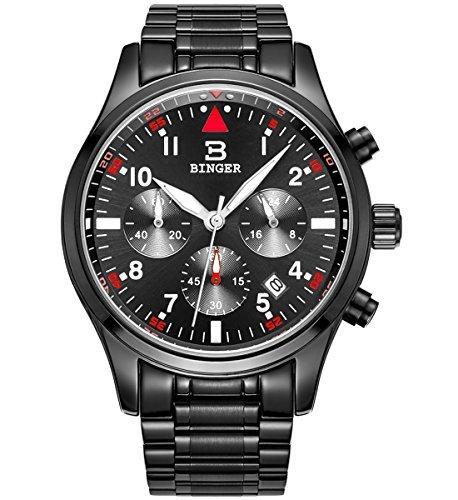 Binger Herren Datum Unisex Schwarz Sport Chronograph Uhren Timer phosphoreszierende Ziffern Edelstahl Armband