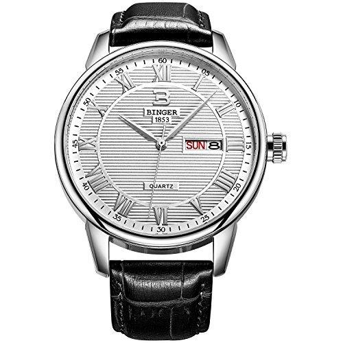 Binger Herren Tag und Datum Schwarz Kalbsleder Leder Uhr mit weissem Zifferblatt Silber Luenette