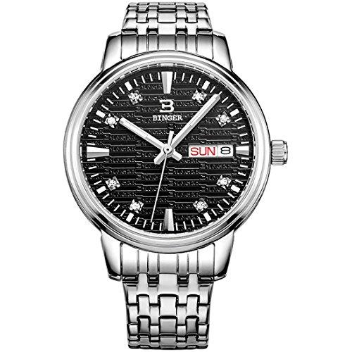 Binger Damen Tag Datum Schwarz Kleid Uhr mit luminous hands und Edelstahl Armband 36l 1 C