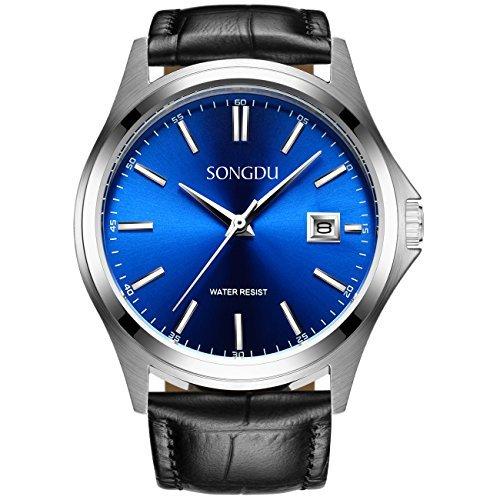 Binger Herren Quarz Kleid Schweizer Uhr Blau Zifferblatt mit Schwarz Kalbsleder Leder Gurt