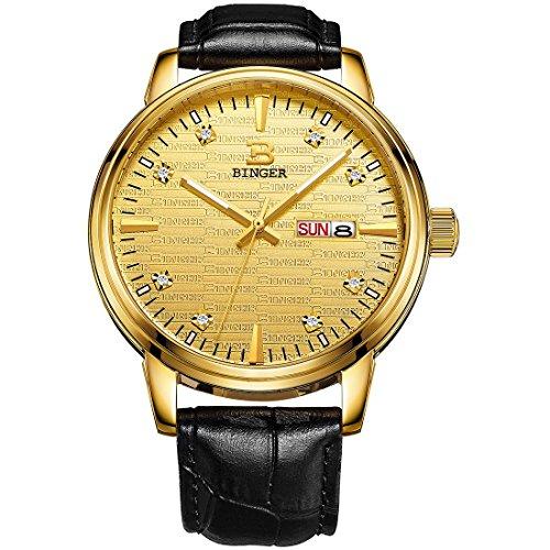 Binger Herren Armbanduhr mit selbstleuchtenden Zeigern Datumsanzeige Quarz Uhrwerk schwarzes Kalbslederband goldfarbenes Zifferblatt