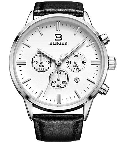 Binger Datum Unisex 24 Hr Watch online Stoppuhr Chronograph Uhren fuer Maenner schwarz Leder Gurt Luminous