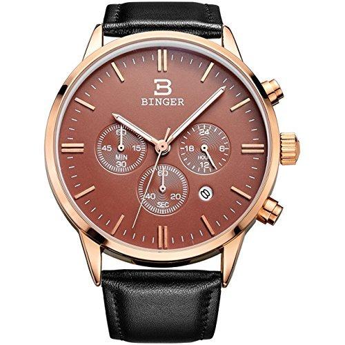 Binger Datum Rose Gold Unisex Chronograph Uhren fuer Maenner Online Stoppuhr 24 Stunde schwarz Lederband
