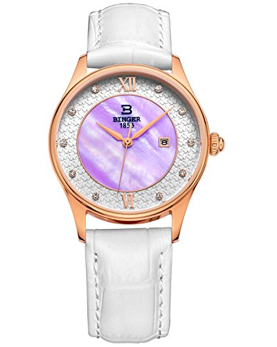 Binger Damen violett Zifferblatt Quarzuhr mit Weiss Kalbsleder Leder Gurt