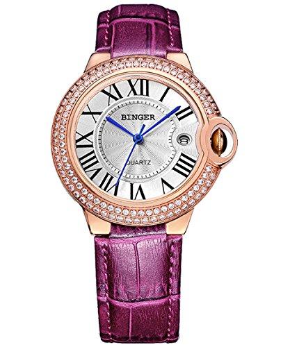 Binger Damen Golden Watchcase mit Kristall Strass roemischen Ziffern Quarz Armbanduhr Weiss Ziffernblatt