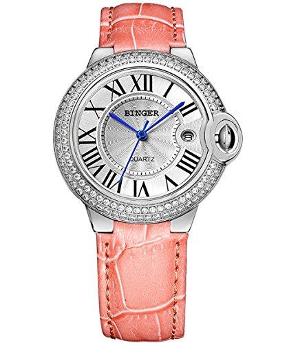 Binger Damen Silber Watchcase mit Kristall Strass roemischen Ziffern Weiss Ziffernblatt