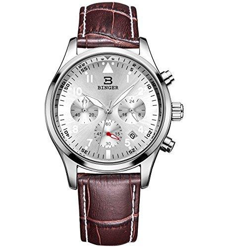 Binger Unisex Datum Drei Sub Zifferblaetter Quarz Uhr mit Braun Kalbsleder Lederband Silber Zifferblatt