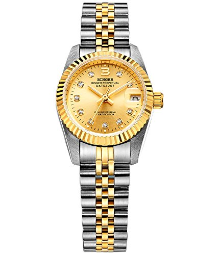Binger Damen Gold Luenette Gold Zifferblatt mit Edelstahl Armband phosphoreszierende Zeiger