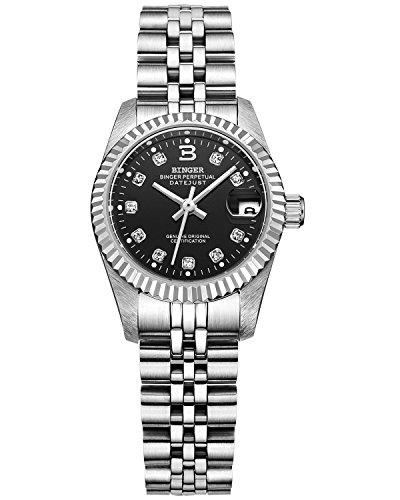 Binger Damen schwarz Zifferblatt mit Silber Band Edelstahl Armband phosphoreszierende Zeiger