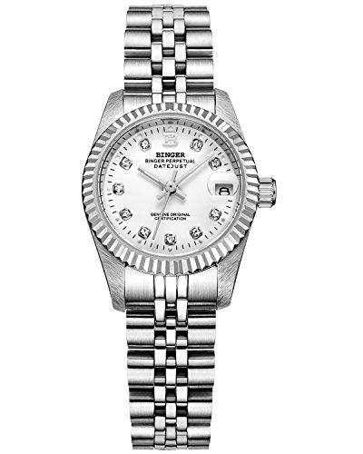 Binger Damen weiss Zifferblatt mit Silber Band Edelstahl Armband phosphoreszierende Zeiger