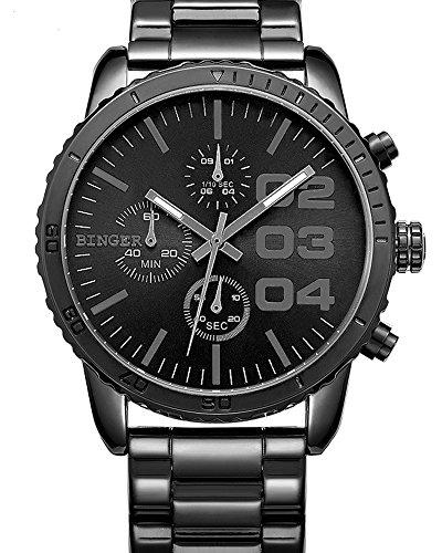 Binger Herren Quarz Zifferblatt schwarz Chronograph anzeigen Edelstahl Wasserdicht Armbanduhr schwarz