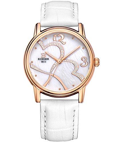 Binger Damen weiss Zifferblatt Quarz Uhr mit weissem Kalbsleder Leder Armband