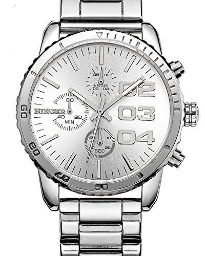 Herren Quartz White Dial Chronograph anzeigen Edelstahl Wasserdicht Armbanduhr weiss