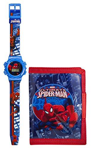 Marvel Ultimate Spiderman Set mit Armbanduhr und Geldboerse fuer Jungen