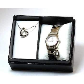 CARVEL Damenuhr mit lila Ziffernblatt und dehnbarem Metallarmband zusammen mit passender Halskette in Praesentbox - 2546957