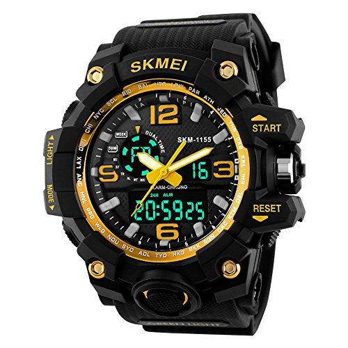 Beswlz Unisex Herren Gross Sport Armbanduhr Multifunktions LED Digital Dual Time Uhren mit 50 m Rueckbeleuchtung Armbanduhr gelb