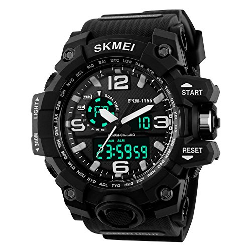 Beswlz Unisex Herren Gross Sport Armbanduhr Multifunktions LED Digital Dual Time Uhren mit 50 m Rueckbeleuchtung Armbanduhr weiss