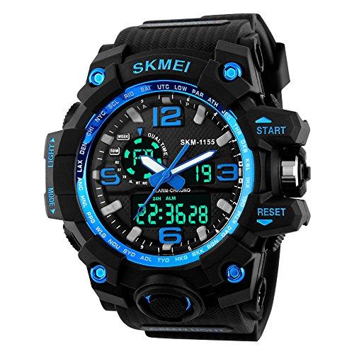 Beswlz Unisex Herren Gross Sport Armbanduhr Multifunktions LED Digital Dual Time Uhren mit 50 m Rueckbeleuchtung Armbanduhr blau