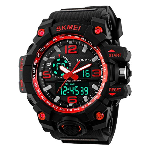 Beswlz Unisex Herren Gross Sport Armbanduhr Multifunktions LED Digital Dual Time Uhren mit 50 m Rueckbeleuchtung Armbanduhr rot