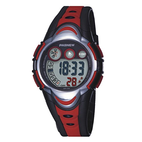BesWLZ Kinder Sport Armbanduhr Multifunktions Gruen LED Digital Wasserdicht Alarm Analog Quartz Studenten Urh Rot