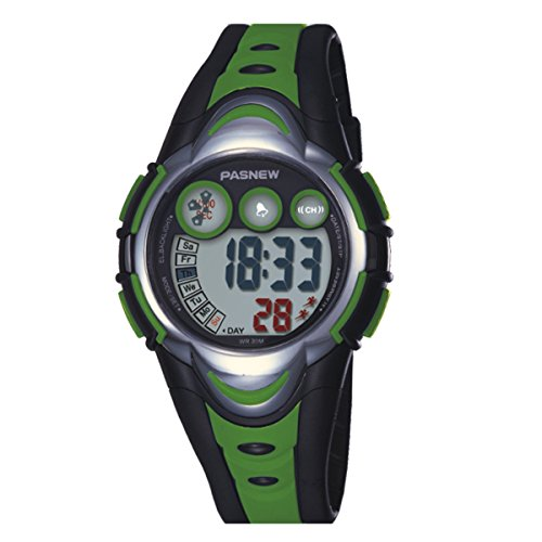BesWLZ Kinder Sport Armbanduhr Multifunktions Gruen LED Digital Wasserdicht Alarm Analog Quartz Studenten Urh Gruen