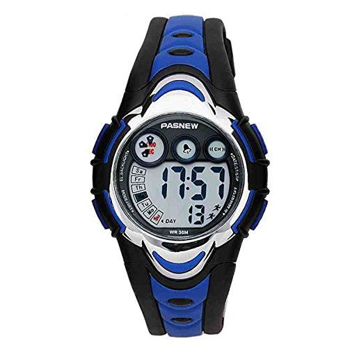 BesWLZ Kinder Sport Armbanduhr Multifunktions Gruen LED Digital Wasserdicht Alarm Analog Quartz Studenten Urh Blau