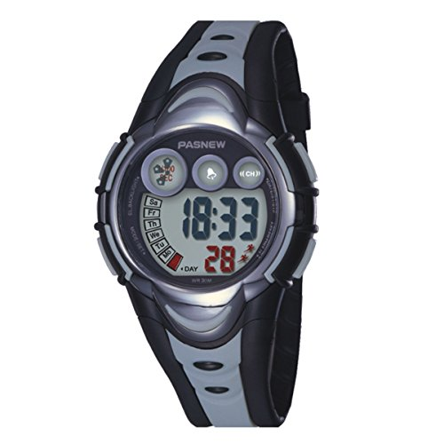 BesWLZ Kinder Sport Armbanduhr Multifunktions Gruen LED Digital Wasserdicht Alarm Analog Quartz Studenten Urh Grau