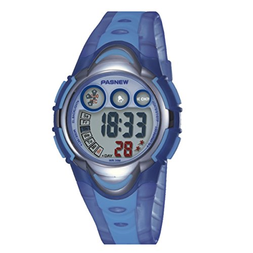 BesWLZ Kinder Sport Armbanduhr Multifunktions Gruen LED Digital Jungenuhren Wasserdicht Alarm Analog Quartz Studenten Urh Hellblau