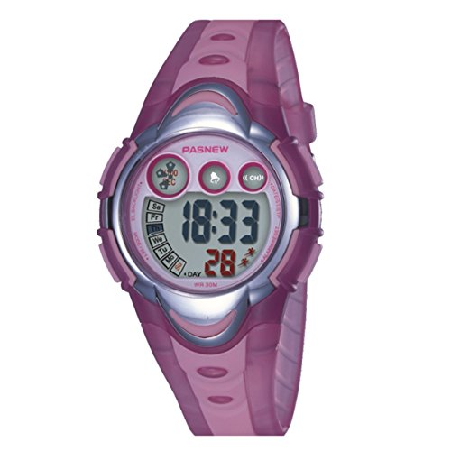 BesWLZ Kinder Sport Armbanduhr Multifunktions Gruen LED Digital Wasserdicht Alarm Analog Quartz Studenten Urh Pink