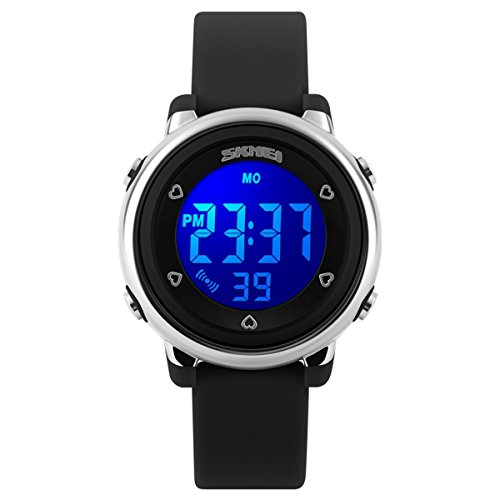 BesWLZ Digitaluhr Outdoor Sport Kinder LED Alarm Stoppuhr Kinder Gelee Armbanduhren Schwarz