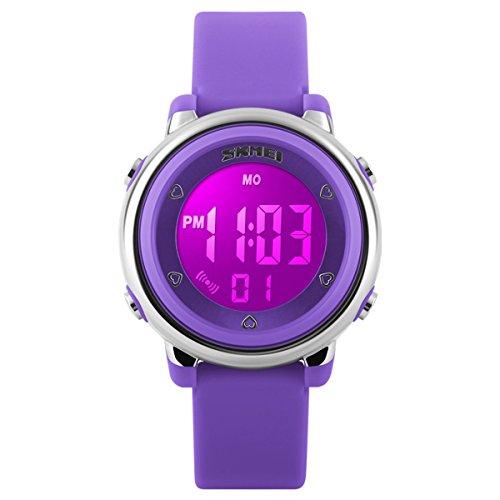 BesWLZ Digitaluhr Outdoor Sport Kinder LED Alarm Stoppuhr Kinder Kleid Armbanduhren Violett