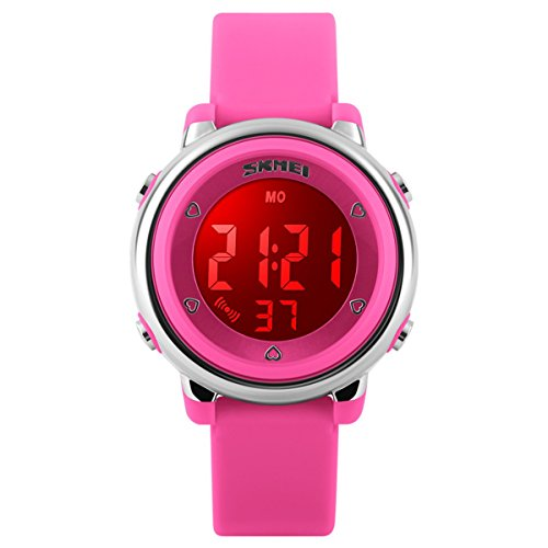 BesWLZ Digitaluhr Outdoor Sport Kinder LED Alarm Stoppuhr Kinder Kleid Armbanduhren Pink