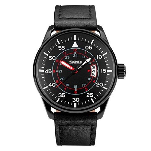 BesWLZ Quarz Herren Armbanduhr Chronograph Kalender Uhr Datum Analog Zeitloses Design klassisch Uhren schwarz Leder