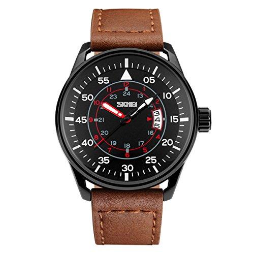 BesWLZ Quarz Herren Armbanduhr Chronograph Kalender Uhr Datum Analog Zeitloses Design klassisch Uhren braun Leder