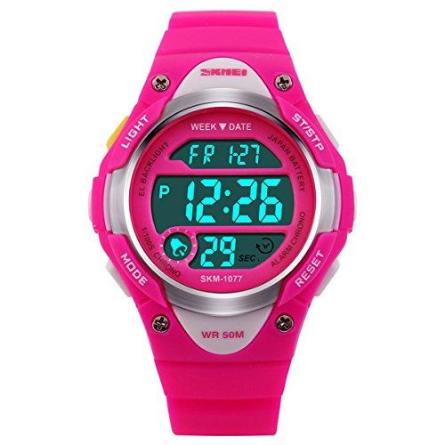 BesWLZ Sports Kids Hintergrundbeleuchtung LED Digital Alarm Stoppuhr Wasserdicht Armbanduhr Kinder Uhren Pink
