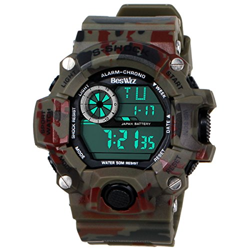 BesWLZ Multifunktional Camouflage Gruen Militaerisch S shock Outdoor Sportuhr mit LED Analogon Digital Wasserdicht Alarm