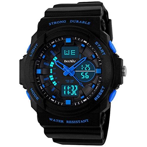 BesWLZ Boys Multifunktional Digital Hintergrundlicht Quarzuhr Wasserfest 50M Outdoor Sport Alarm Stoppuhr Armbanduhren Blau