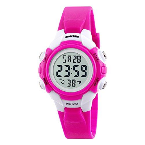 Beswlz Kinder Sport LED Hintergrundbeleuchtung Digital Maedchen Uhren Alarm 50 m Wasserdicht Armbanduhr Kinder Uhr Rosa