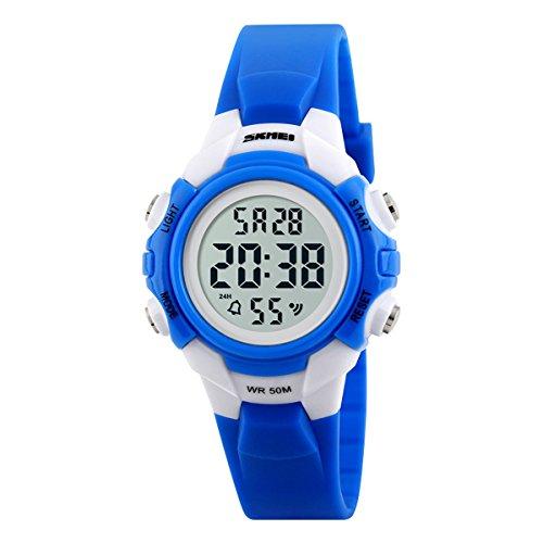 Beswlz Kinder Sport LED Hintergrundbeleuchtung Digital Maedchen Uhren Alarm 50 m Wasserdicht Armbanduhr Kinder Uhr Blau