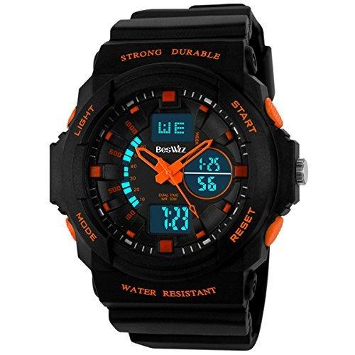Beswlz Jungen Multi Funktion Digital LED Quarz Armbanduhr wasserabweisend Elektronische Sport Uhren Kind Orange