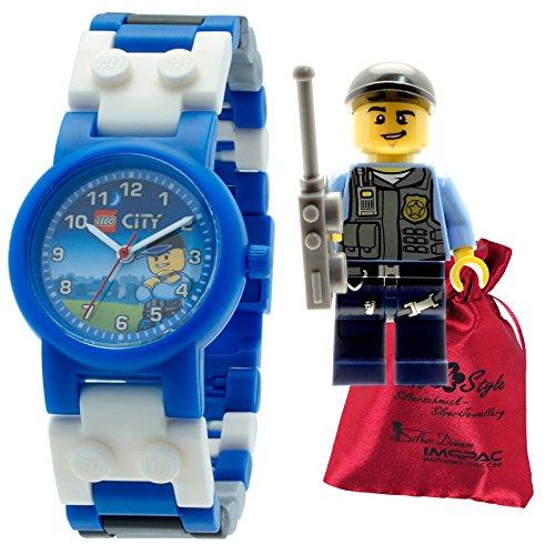 LEGO Special Police Kinder Armbanduhr LEGO City weiss blau mit Transportsaeckchen Kunststoff Armband Quarzuhr ULE8020028