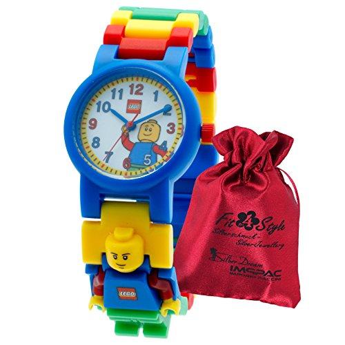 LEGO Kinderuhr Classic blau gelb rot gruen mit Transportsaeckchen Kunststoff Armband Quarzuhr ULE8020189