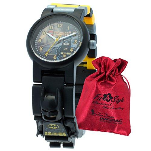 LEGO Kinderuhr Batman schwarz gelb grau mit Transportsaeckchen Kunststoff Armband Quarzuhr ULE8020264