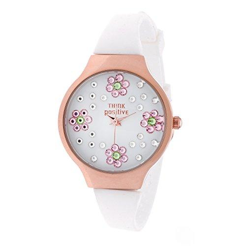 Ladies THINK POSITIVE Modell SE W114A Blumen Kleine Rose Buegel Silikon Farbe Weiss