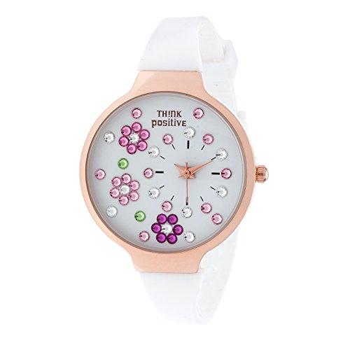 Ladies THINK POSITIVE Modell SE W113 Blumen Rose Medium Buegel Silikon Farbe Weiss