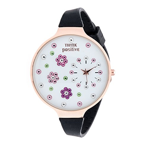 Ladies THINK POSITIVE Modell SE W112 Blumen Grosse Rose Buegel Silikon Farbe Schwarz